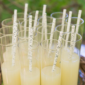 Birch Print Paper Straws - Piece of Cake Wedding Decor