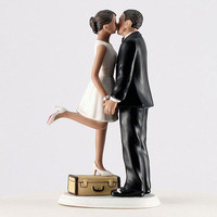 """A Kiss and We're Off!"" Wedding Cake Topper - Piece of Cake Wedding Decor"