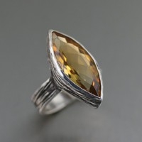14 ct Marquise Cut Citrine Sterling Silver Cocktail Ring