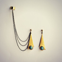 long triangle turquoise ear cuff earrings