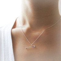 Aries Zodiac Sign Necklace / silver plated brass or sterling silver