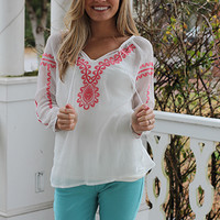 Embroidered Peasant Top, Coral