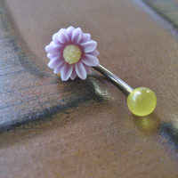 Lavender Light Purple Yellow Daisy Belly Button Ring Jewelry- Flower Navel Piercing Stud Bar Barbell