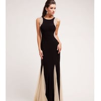 (PRE-ORDER) 2014 Prom Dresses - Black & Nude Beaded Hourglass Sleeveless Long Dress