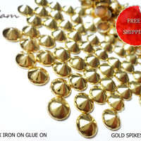 DIY Studs - 70 PCS 8 mm Gold Spikes Studs Iron On, Hot Fix, or Glue On - Free Shipping