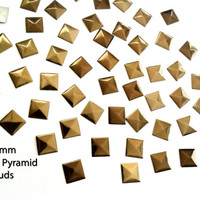 DIY Studs - 60 Bronze 7 mm Pyramid Square Studs - Iron On, Hot Fix, or Glue On
