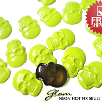 DIY Studs - 100 Neon Yellow Gothic Skull Flat Back Cabochons Hot fix Iron On Glue On