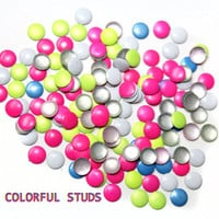 200 PCS Round Colorful Hot Fix Hotfix Studs 4 mm - Iron On, Hot Fix, or Glue On - Free Shipping