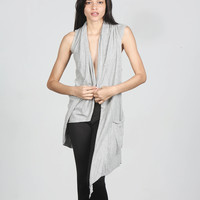 All Saints Grey Cotton Asymmetrical Long Vest- Found on Bib + Tuck