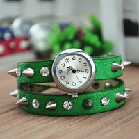 Unique Handmade Rhinestone and Rivets Wrap Watch 148 DP0119