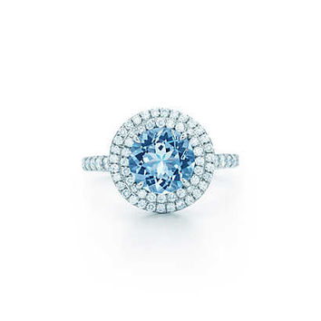 Tiffany & Co. - Tiffany Soleste® ring in platinum with a 2.00-carat aquamarine and diamonds.