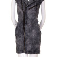 Love Spray Acid Wash Denim Zippers Studded Collar Cap Sleeve Dress Charcoal Black