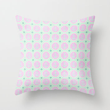 Anchors - Radiant Orchid & Mint  Throw Pillow by alterEGO