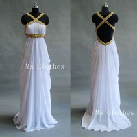 Custom Made Chiffon Backless Long White Prom Dresses, Prom Dresses 2014, Evening Dresses, Dress For Prom, Formal Dresses