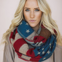 American Flag Scarf, Knit Loop, Stars & Stripes, Team USA Infinity Scarf, Cozy American Flag Loop with Leather Cuff (SCF-99)