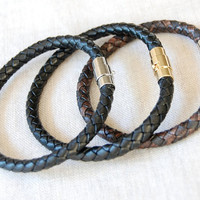 The Declan Leather Bracelet - Braided Brown Bolo Leather and Silver Mens Bracelet