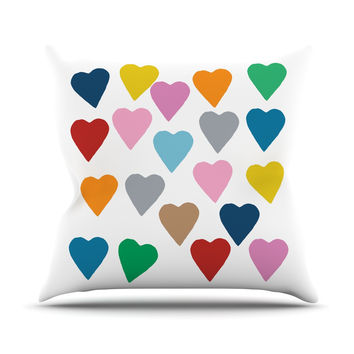 "Project M ""Colorful Hearts"" Throw Pillow"