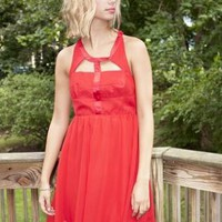 Red Cutout Neckline Party Dress