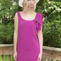 Magenta Sleeveless Bow Shoulder Dress