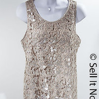 Michael Kors Taupe with Silver Sequins Tank Size M Pre-Owned