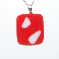 Red and White , Square, abstract, design,Fused Glass, Pendant, Cherry Red, Unique one of a kind , handmade , Gift