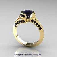 Modern French 14K Yellow Gold 1.0 Ct Black Diamond Engagement Ring Wedding Ring R376-14KYGBD