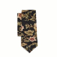 's Floral Tie (Charcoal)
