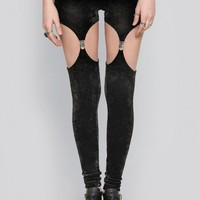 VELVET GARTER LEGGINGS - BLACK