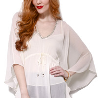 Bead Trim Chiffon Butterfly Top
