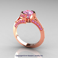 Modern French 14K Rose Gold 1.0 Ct Light Pink Sapphire Engagement Ring Wedding Ring R376-14KRGLPS