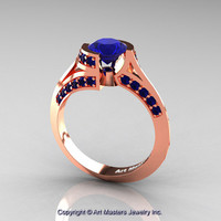 Modern French 14K Rose Gold 1.0 Ct Blue Sapphire Engagement Ring Wedding Ring R376-14KRGBS
