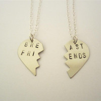 BREAST FRIENDS Necklaces, Hand Stamped Nickel Silver Broken Heart Friendship Necklaces