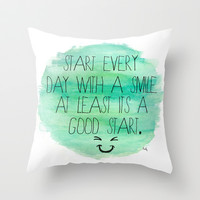 Start With a Smile Throw Pillow by Kayla Gordon