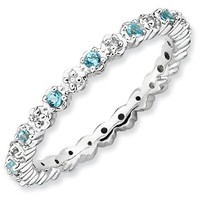 Sterling Silver Stackable Expressions Blue Topaz & Diamond Ring