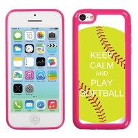 One Tough Shield ® Hybrid Flexible/Rigid Phone Case (Pink Bezel) for Apple iPhone 5C - (Keep Calm / Softball Green)