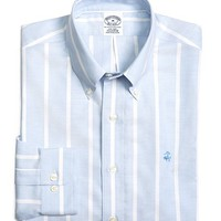 Men's Supima Cotton Non-Iron Slim Fit Brookscool Wide Stripe Oxford Sport Shirt