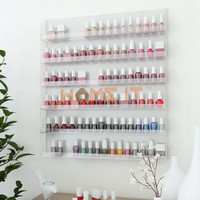 Acrylic Wall Rack Organizer Holds up to 102 Bottles Nail Polish