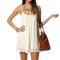 Ivory Sleeveless Crochet Tunic