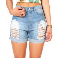 Classic Cuff High Waist Shorts | Denim Shorts at Pink Ice