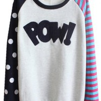 Sheinside Royal Blue Long Sleeve Striped Polka Dot Sweatshirt