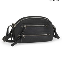 FAUX LEATHER ZIPPERED MINI CROSS-BODY BAG
