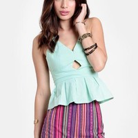 Honeydew Bow Back Peplum Top By Reverse | Threadsence