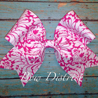 "3"" Pink and White Damask Cheer Bow"