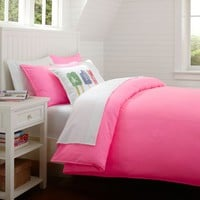 Color Wash Duvet Cover + Sham, Hot Pink