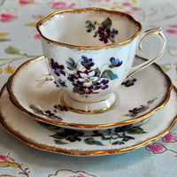 Royal Albert Special Edition Vintage China Violets For Love Teacup Trio 1950's to buy UK