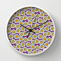 Purple Smiley Daisy Flower Pattern Wall Clock by Hippy Gift Shop