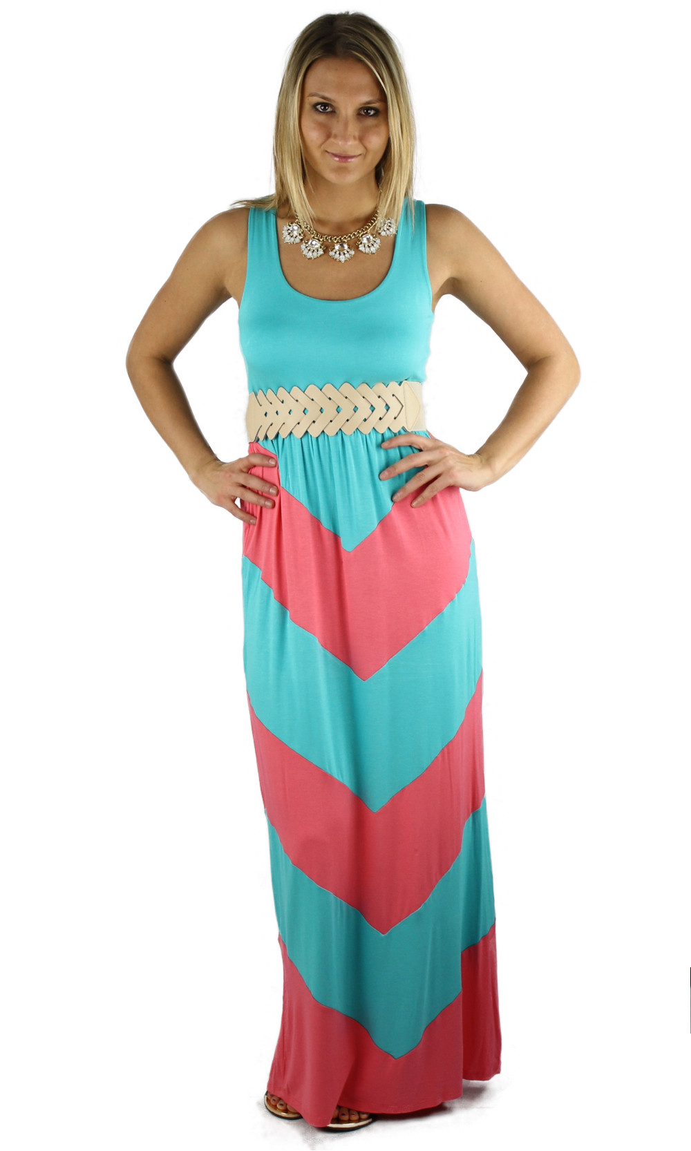 Pink And Blue Maxi Dress - Gallery Fashion