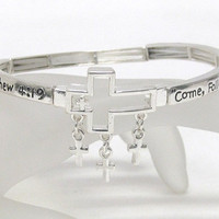 Weekend SALE Cross Charm Engraved Message Mathew 4:19 Stretch Bracelet