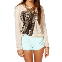 Tan Elephant Long Sleeve Top