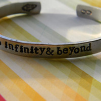 to infinity and beyond one aluminum bracelet 1/4 inch wide